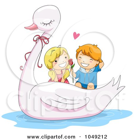 Royalty-Free (RF) Clip Art Illustration of a Valentine Cartoon Couple On A Swan Ride by BNP Design Studio