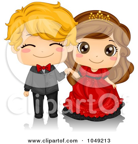 Royalty-Free (RF) Clip Art Illustration of a Valentine Cartoon Couple At A Ball by BNP Design Studio
