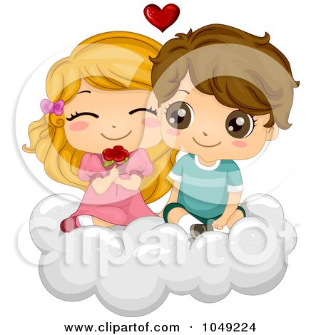 Loving Couples Pictures on Valentine Cartoon Couple With Flowers On A Cloud By Bnp Design Studio