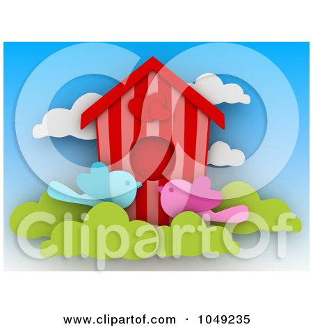 Royalty-free clipart picture of a 3d heart bird house with two love birds.