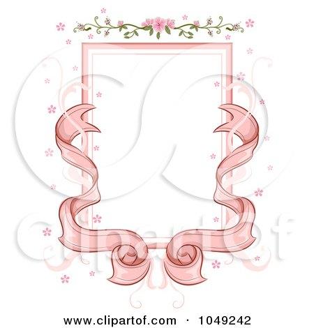 RoyaltyFree RF Clip Art Illustration of a Pink Ribbon And Floral Wedding