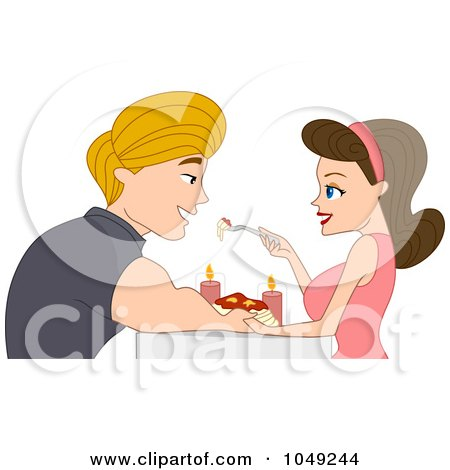 Royalty-Free (RF) Clip Art Illustration of an Adult Valentine Couple Eating Spaghetti In Candlelight by BNP Design Studio