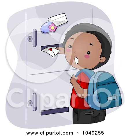 Black School Boy Sticking A Valentine In A Girl's Locker Posters, Art Prints