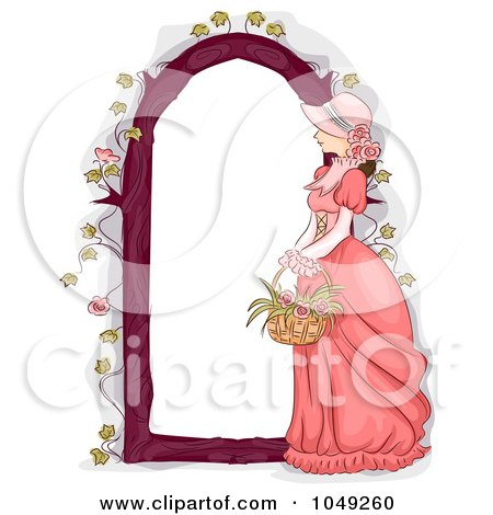 Flower  on Free  Rf  Clip Art Illustration Of A Victorian Woman With A Flower