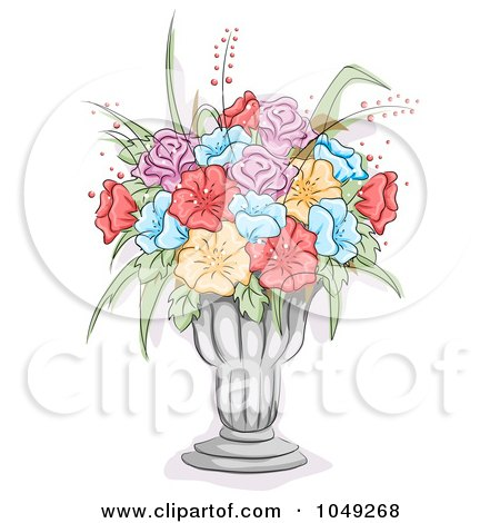 Royalty-Free (RF) Clip Art Illustration of a Sketch Of Colorful Flowers In A Glass Vase by BNP Design Studio