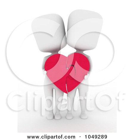 Royalty-Free (RF) Clip Art Illustration of a 3d Ivory White Couple Holding A Heart Puzzle Together by BNP Design Studio