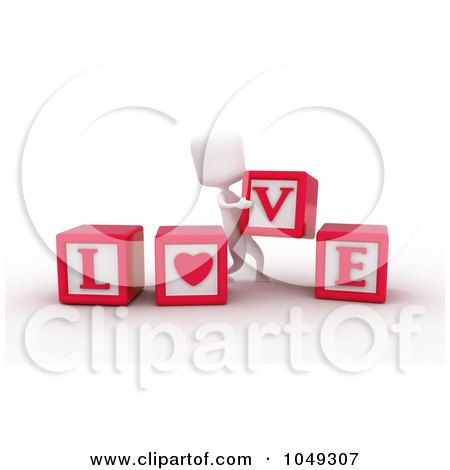 Royalty-Free (RF) Clip Art Illustration of a 3d Ivory White Person Spelling Love With Blocks by BNP Design Studio