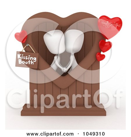 Royalty-Free (RF) Clip Art Illustration of a 3d Ivory White Person Couple In A Kissing Booth by BNP Design Studio