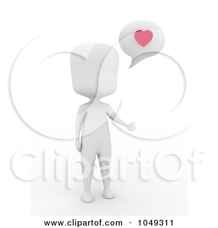 Royalty-free clipart picture of a 3d ivory white person talking about love,