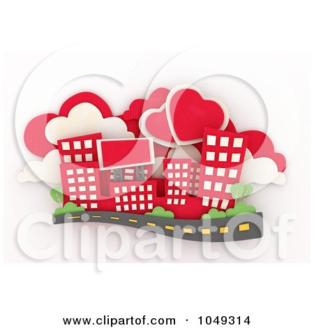 Royalty-Free (RF) Clip Art Illustration of a 3d Red City With Heart Clouds by BNP Design Studio