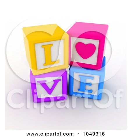 Royalty-free clipart picture of 3d colorful alphabet blocks spelling love