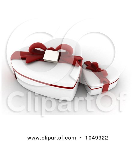 Royalty-Free (RF) Clip Art Illustration of 3d White Heart Valentine Gift Boxes With Red Ribbons by BNP Design Studio