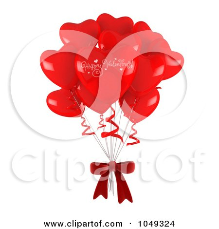 Royalty-Free (RF) Clip Art Illustration of a 3d Bunch Of Heart Balloons And Bow by BNP Design Studio