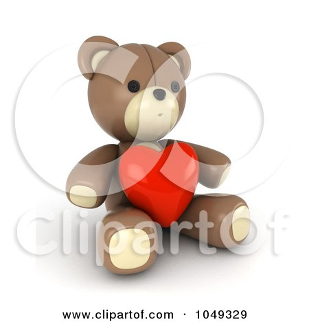 Royalty-Free (RF) Clip Art Illustration of a 3d Valentine Teddy Bear With A Heart by BNP Design Studio