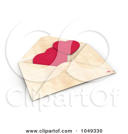 3d Red Valentine Paper Hearts In An Envelope Posters, Art Prints