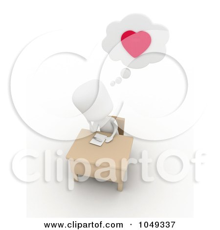 3d Ivory White Person Writing A Love Letter Posters, Art Prints