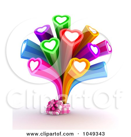 Royalty-Free (RF) Clip Art Illustration of a 3d Gift Box With Colorful Hearts Bursting Out by BNP Design Studio