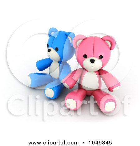 Royalty-Free (RF) Clip Art Illustration of a 3d Blue And Pink Valentine Teddy Bear Couple Holding Hands by BNP Design Studio