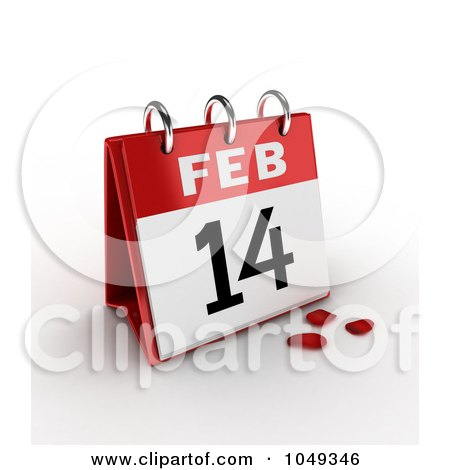 Royalty-Free (RF) Clip Art Illustration of a 3d February 14th Valentines Day Calendar With Rose Petals by BNP Design Studio