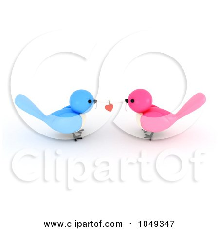 Royalty-Free (RF) Clip Art Illustration of a 3d Blue And Pink Valentine Birds With A Heart On A String by BNP Design Studio