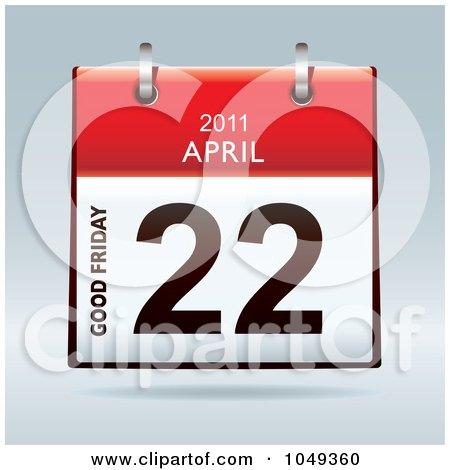 Royalty-Free (RF) Clip Art Illustration of a 3d Good Friday April 22 Flip Desk Calendar by michaeltravers