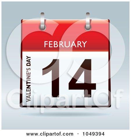 Royalty-Free (RF) Clip Art Illustration of a 3d Valentines Day February 14 Flip Desk Calendar by michaeltravers