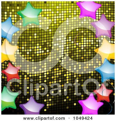 Royalty-Free (RF) Clip Art Illustration of a Border Of Shiny Colorful Stars Over Yellow Mosaic by elaineitalia