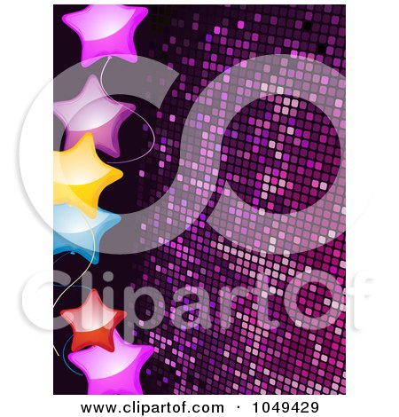 Royalty-Free (RF) Clip Art Illustration of a Border Of Shiny Colorful Stars Over Purple Mosaic by elaineitalia