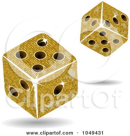 Royalty-Free (RF) Clip Art Illustration of 3d Gold Mosaic Dice Rolling by elaineitalia