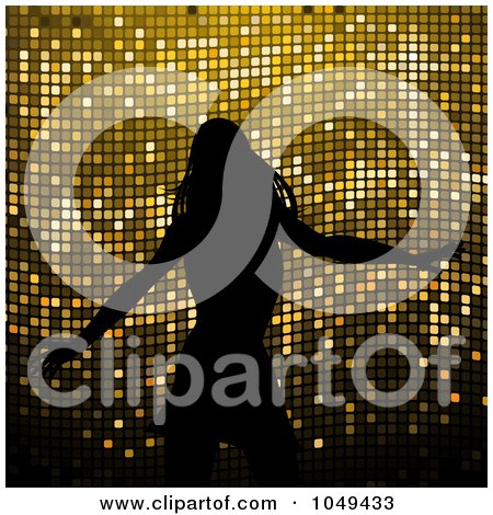 Royalty-Free (RF) Clip Art Illustration of a Silhouetted Dancing Woman Against Gold Mosaic by elaineitalia