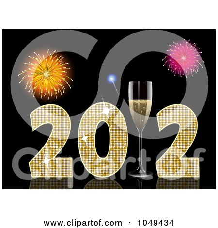 Royalty-Free (RF) Clip Art Illustration of a 3d 2011 With Champagne Glasses And Fireworks On Black by elaineitalia