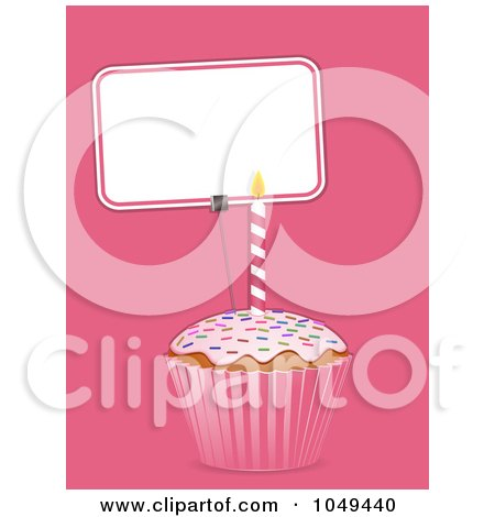 Royalty-Free (RF) Clip Art Illustration of a 3d Cupcake And Blank Sign Label On Pink by elaineitalia
