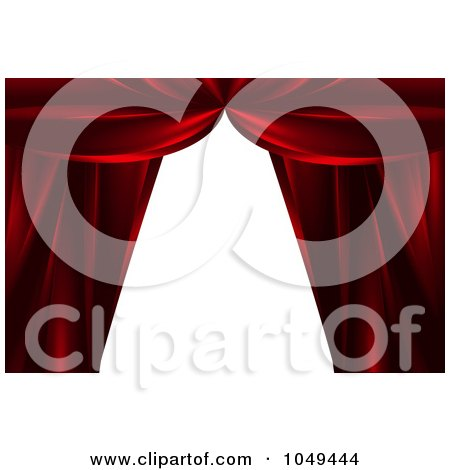 Royalty-Free (RF) Clip Art Illustration of Red Theater Curtains Framing White by elaineitalia