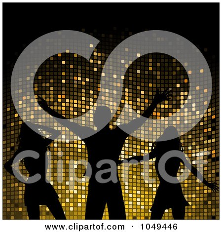 Royalty-Free (RF) Clip Art Illustration of Silhouetted Dancing Women And A Man Against Gold Mosaic by elaineitalia