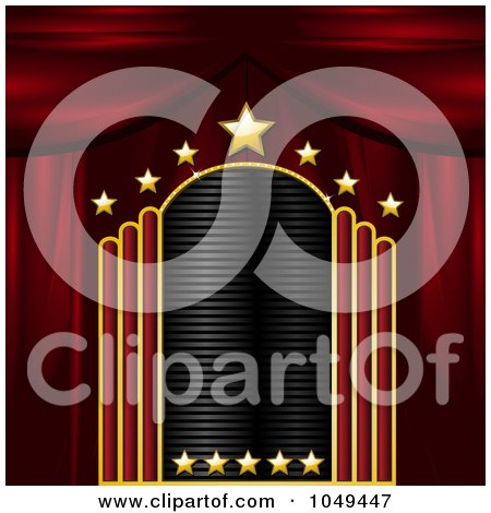 Royalty-Free (RF) Clip Art Illustration of a Blank Gold, Red And Black Starry Theater Sign With Stage Curtains by elaineitalia