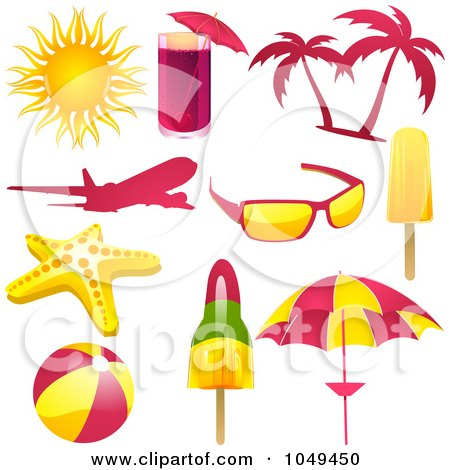 Royalty-Free (RF) Clip Art Illustration of a Digital Collage Of Pink, Yellow And Green Travel Icons by elaineitalia
