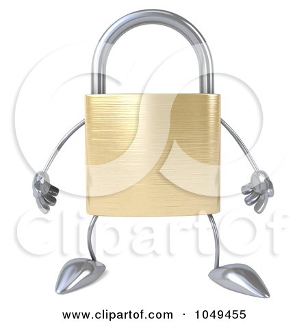 Royalty-Free (RF) Clip Art Illustration of a 3d Padlock Character Facing Forward by Julos