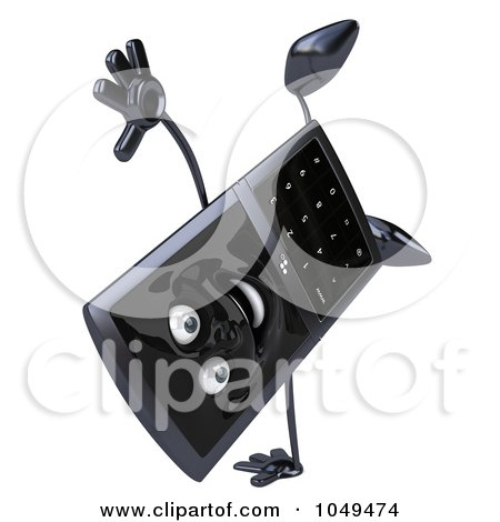Royalty-free clipart picture of a 3d black cell phone character doing a