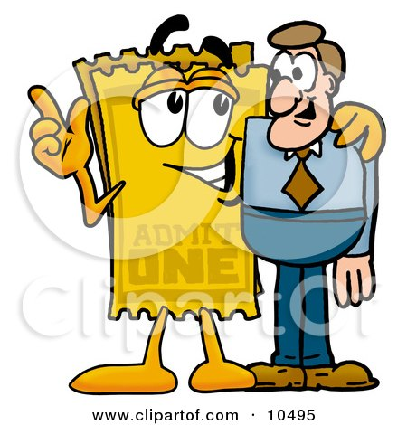 Clipart Picture of a Yellow Admission Ticket Mascot Cartoon Character Talking to a Business Man by Toons4Biz