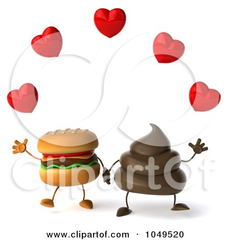 3d Milk Chocolate Or Poop Character Holding Hands With A Cheesburger Under