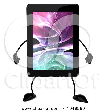 Royalty-Free (RF) Clip Art Illustration of a 3d Tablet Character by Julos