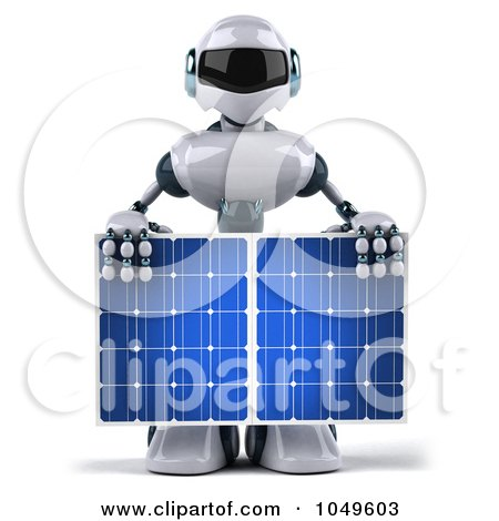 Royalty-Free (RF) Clip Art Illustration of a 3d Techno Robot Holding A Solar Energy Panel - 3 by Julos