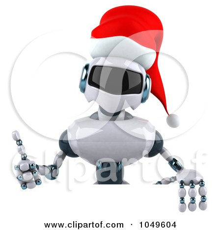 Royalty-Free (RF) Clip Art Illustration of a 3d Techno Christmas Robot Holding A Blank Sign - 2 by Julos