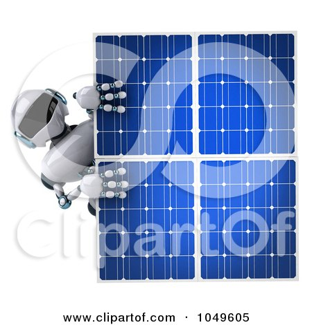 Royalty-Free (RF) Clip Art Illustration of a 3d Techno Robot Holding A Solar Energy Panel - 2 by Julos