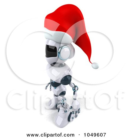 Royalty-Free (RF) Clip Art Illustration of a 3d Techno Christmas Robot Standing Facing Left by Julos