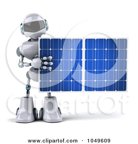 Royalty-Free (RF) Clip Art Illustration of a 3d Techno Robot Holding A Solar Energy Panel - 1 by Julos