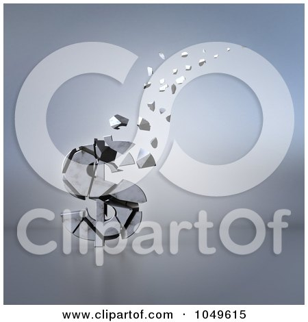 Royalty-Free (RF) Clip Art Illustration of a 3d Old Dollar Crumbling And Floating Away by Julos