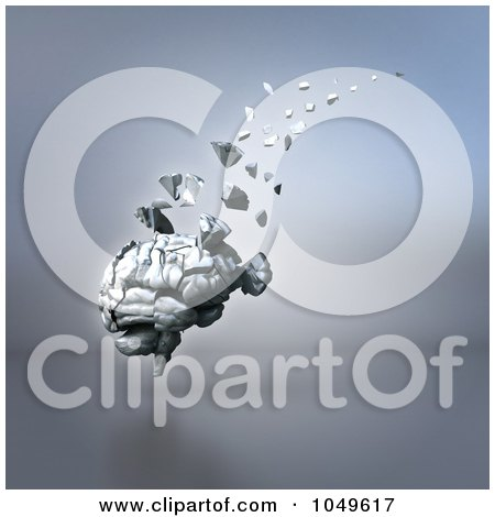 Royalty-Free (RF) Clip Art Illustration of a 3d Old Brain Crumbling And Floating Away by Julos