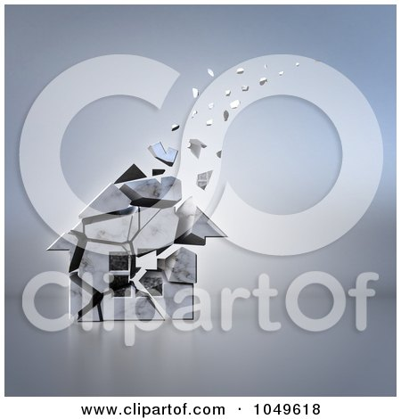 Royalty-Free (RF) Clip Art Illustration of a 3d Old House Crumbling And Floating Away by Julos