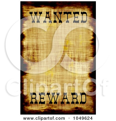 Royalty-Free (RF) Clip Art Illustration of a Vintage Wanted Poster With Copy Space And The Word Reward At The Bottom by Arena Creative